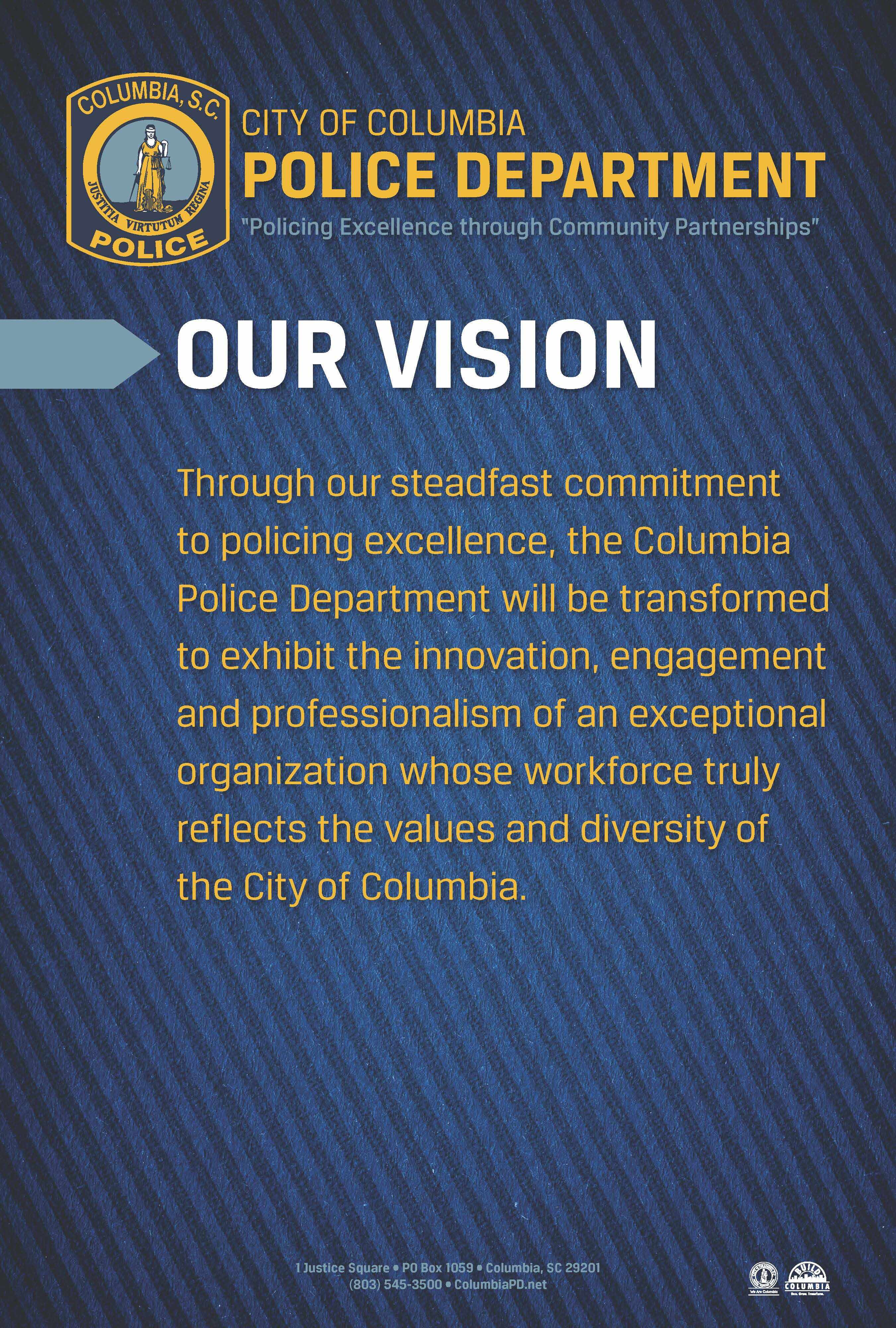 Taxi Columbia Sc >> Mission & Vision – City of Columbia Police Department